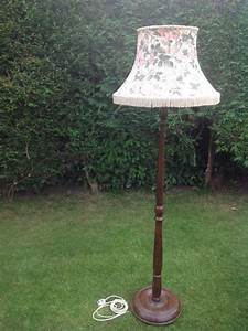 Antique vintage wood turned floor lamp stand with original for Antique wooden floor lamp base