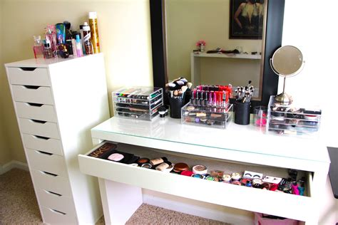 small bedroom organization makeup collection storage updated casey