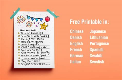 new year resolutions printable kid free multil language printable new year resolutions for