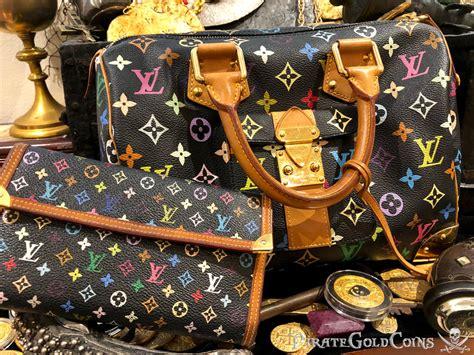 louis vuitton takashi murakami speedy  hand bag black monogram purse pirate gold coins