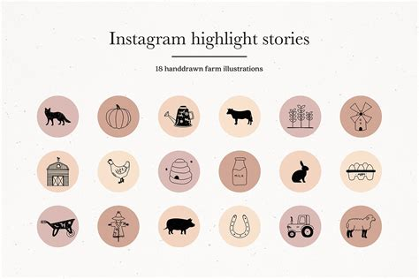 What is included in the package • 6 instagram post templates (layered psd files) • 9 elements to use with canva (4 square backgrounds, 2 text boxes, 2 frames) • 52 instagram highlight cover icons (see full details on all icons listed below) Instagram Farm Story Highlights Icons Covers (386250) | Instagram | Design Bundles