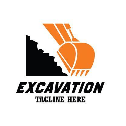 excavator excavation icon emblems  insignia  text space   slogan tagline vector
