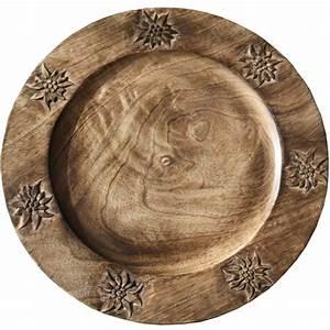 Sous Assiette Bois : assiette bois brul 7 edelweiss sculpt s ~ Teatrodelosmanantiales.com Idées de Décoration