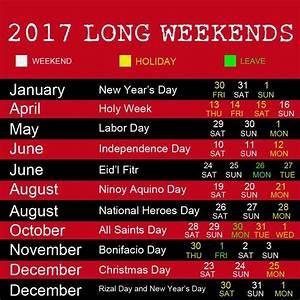 Enjoy Next Year's Long Weekends via 2017 Philippine Holidays