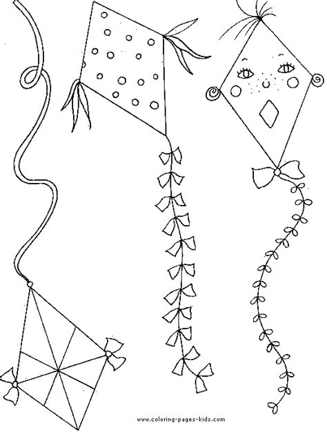 kite color page coloring pages  kids miscellaneous