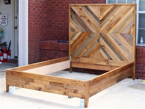 How To Make A Bed Frame With Headboard And Footboard by Diy West Elm Inspired Chevron Reclaimed Wood Bed Day Bed