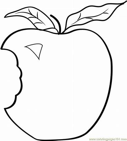 Apple Bite Coloring Clipart Pages Apples Template