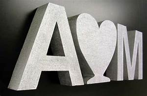 3d letters made from silver painted styrofoam a sign With 3d foam letters