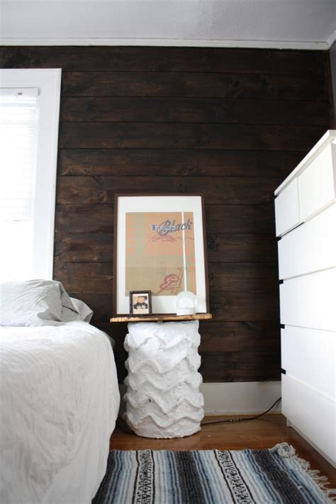 Stained Shiplap Wall by Shiplap Stained Wall And Cb2 Bedside Table Merrypad