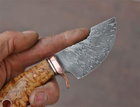 skinning knife designs custom 3 finger etched skinner masur birch