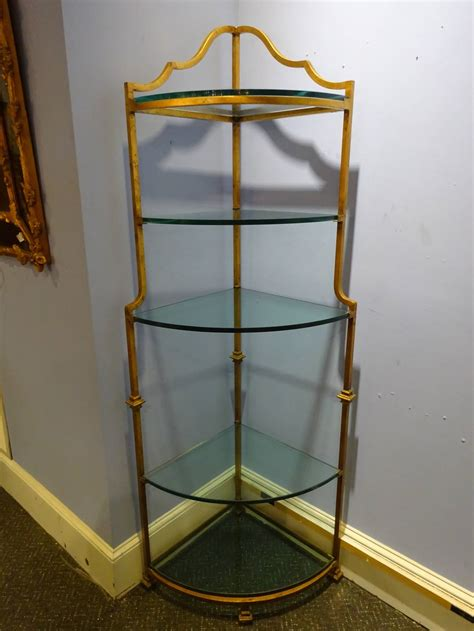 Corner Etageres by Gilt Metal Corner Etagere At 1stdibs