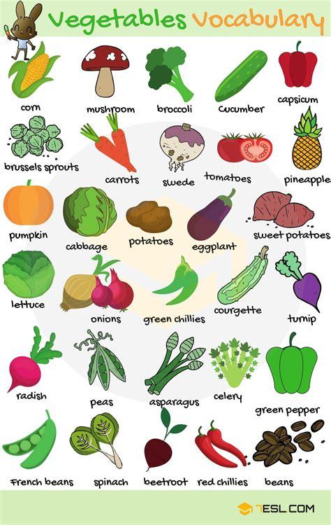 list  vegetables  vegetables names  english