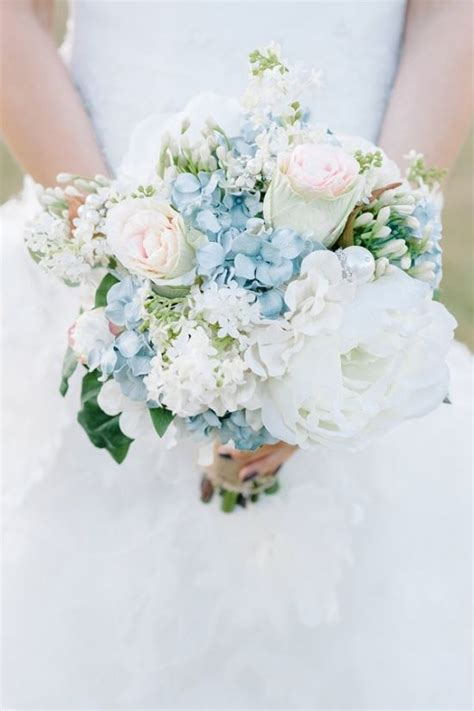 blue  ivory shabby chic wedding wedding bouquets