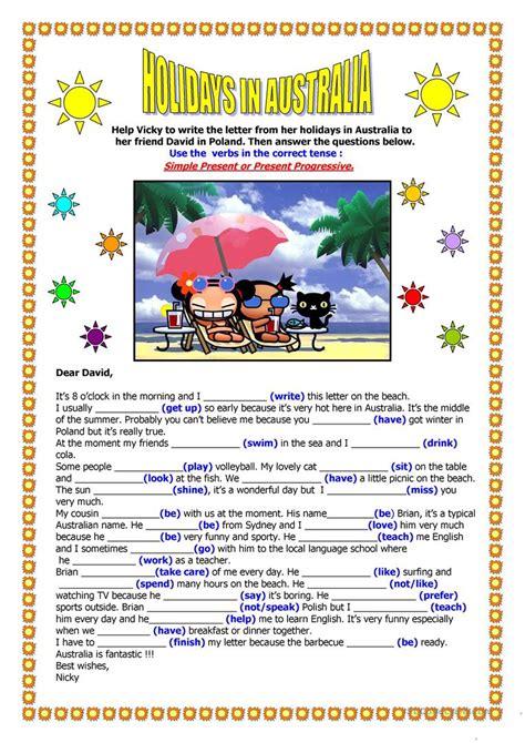 holidays in australia a letter worksheet free esl