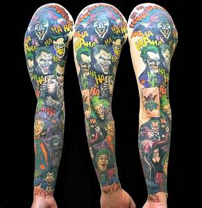 Clown Girl Joker Tattoo On Man Right Sleeve