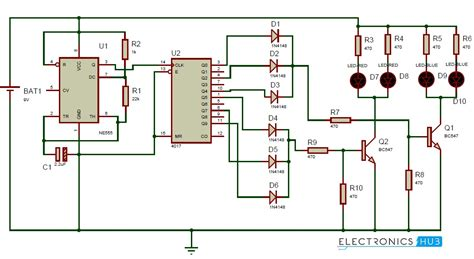 lights circuit using 555 timer and 4017 decade counter