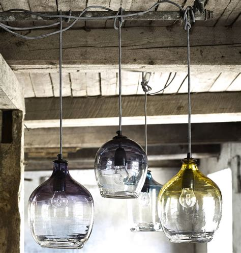 eclectic blown glass pendant lights by the forest
