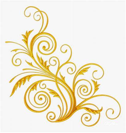 Swirl Swirls Corner Golden Flower Transparent Clipart