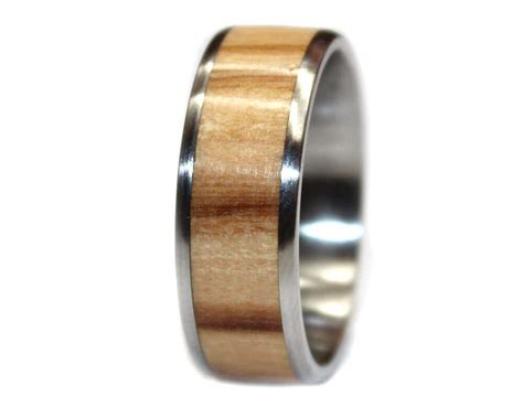 Olivewood And Stainless Steel Wooden Ring  Wooden Rings