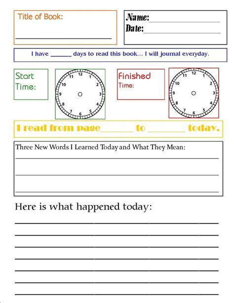 free reading journal printable printable worksheets