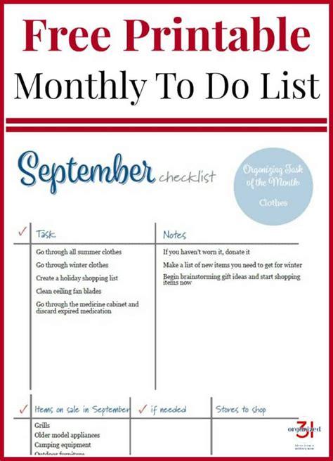 september checklist printable organized