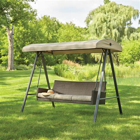 canapé swing hton bay plaistow 3 person wicker outdoor swing with