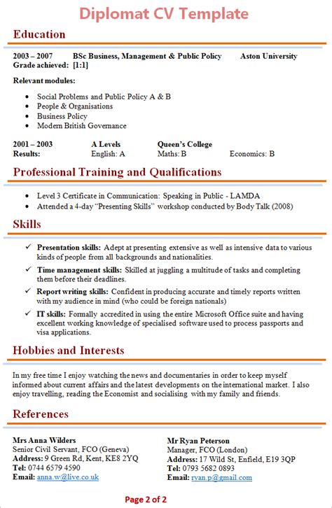 Travelling Hobby Resume by Diplomat Cv Template 2
