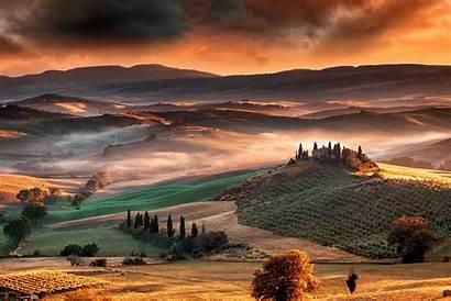 Sunrise Italy Tuscany Landscape Nature Mountain Valley