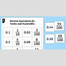 Decimal Equivalents For Tenths And Hundredths Matching Cards Tenths
