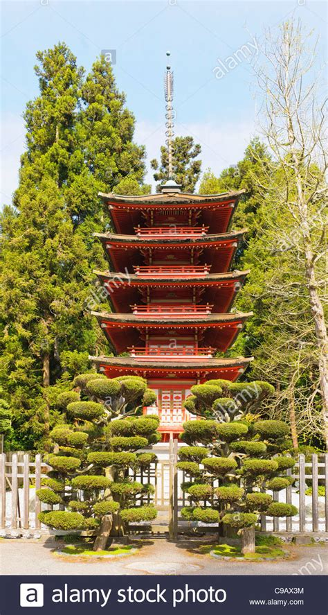 pagoda japanese tea garden san francisco stock photo