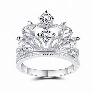 crown design white sapphire sterling silver women39s With crown design wedding rings
