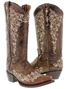 size 12 womens cowboy boots brown 39 s brown abilene leather cowboy boots rhinestones rodeo ebay
