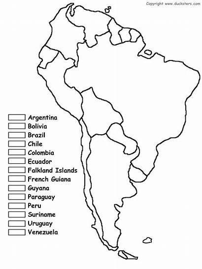 Coloring America South Map Countries Worksheets Colors
