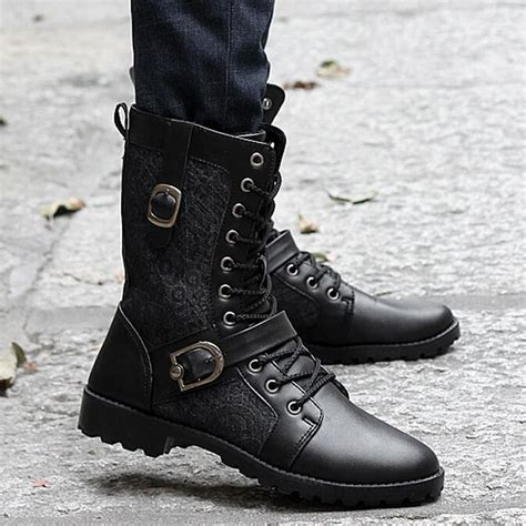 Cheap Fashion Combat Boots For Men Tsaa Heel