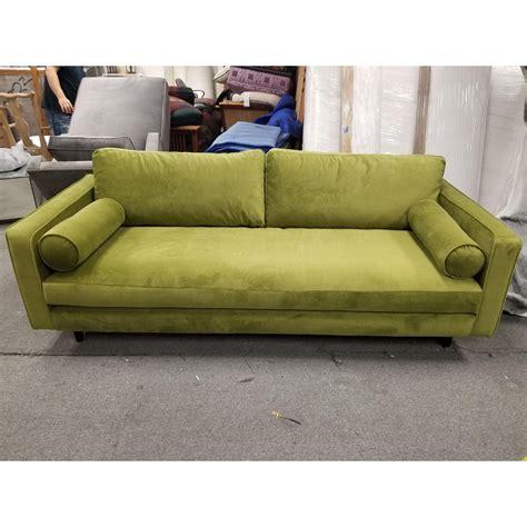 upholstered apple green velour sofa