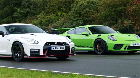 nissan gt  nismo  porsche  gt rs compared  race