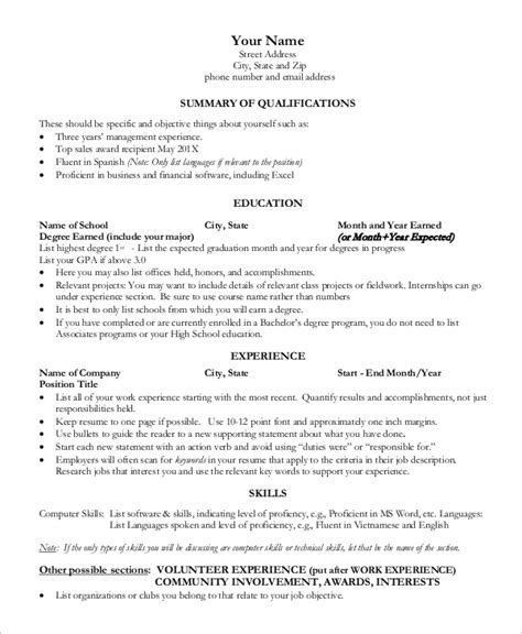 What Should Be On A Resume by Sle One Page Resume 9 Exles In Word Pdf