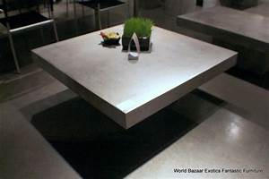 43quot square coffee table solid concrete slab top cement With concrete slab coffee table