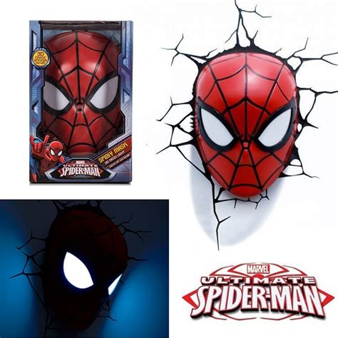 3d marvel spiderman mask wall light red kids bedroom decor