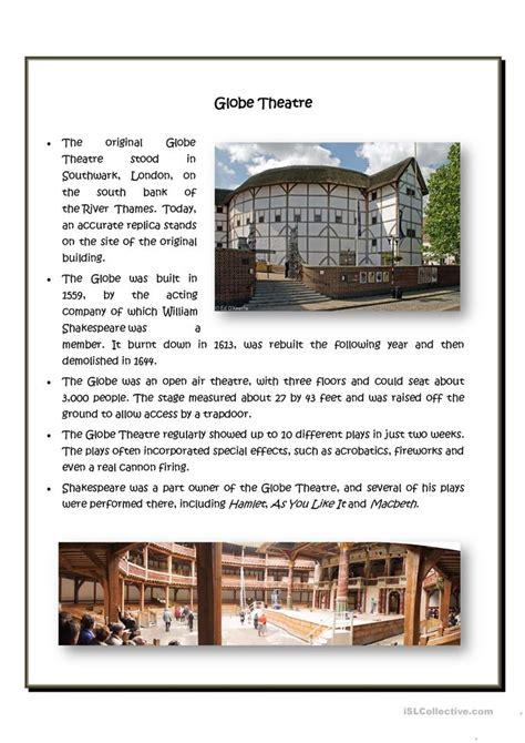 globe theatre worksheet  esl printable worksheets