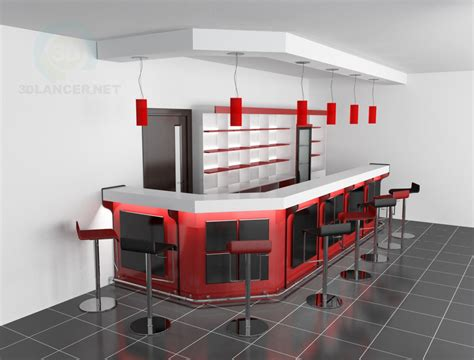 3d model Bar counter style Scandinavian download for free
