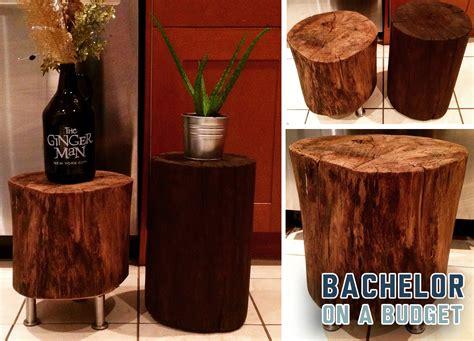 diy tree stump side tables bachelor   budget