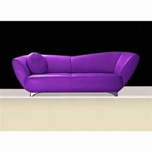 canape cuir ou tissu mino 2 25 ou 3 places violet With tapis de course avec canapé rustique bois tissus
