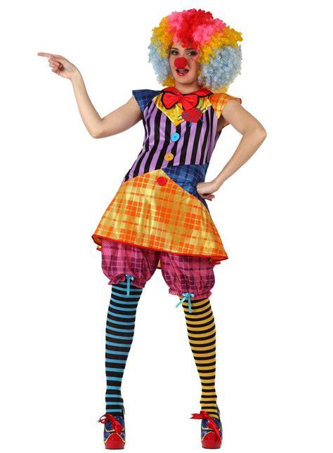 lustige clownfrau damenkostuem zirkus  size bunt