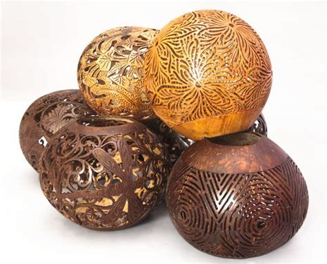 carved coconut shells balinese craft  indonesia