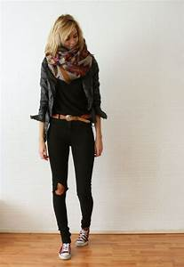 Black Skinny Leg Jeans with Ripped Knee Detail Red Converse Sneakers Light Jacket Geometric ...