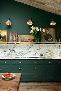 Victorian green marble and brass kitchen design digsdigs for Kitchen cabinet trends 2018 combined with portrait canvas wall art