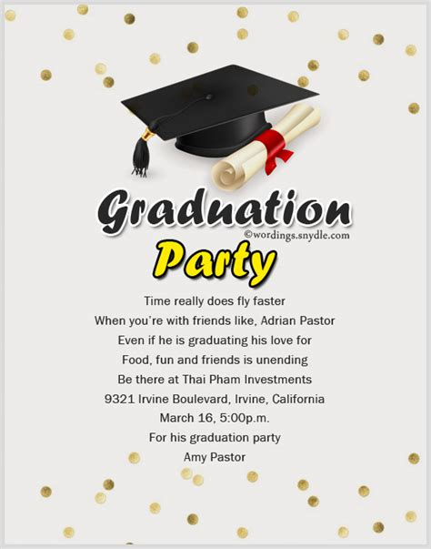 grad party invite graduation invitation wording wordings and messages