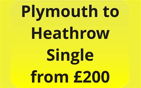 Plymouth To Heathrow One Way Airport Transfer