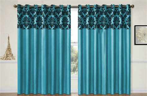 Eyelet Curtains Ring Top Fully Lined Damask Pair Ready